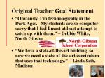 original teacher goal statement