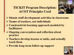 tickit program description acot principles used