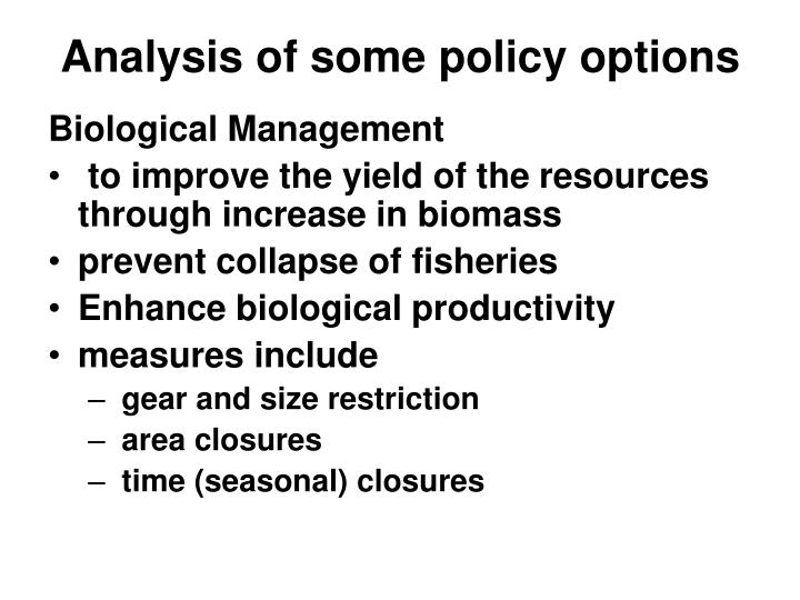 Analysis of some policy options