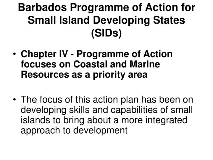 Barbados Programme of Action for Small Island Developing States (SIDs)