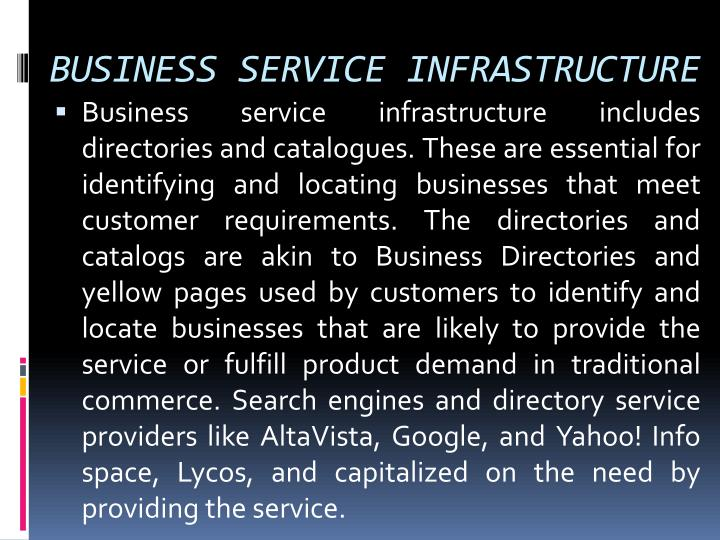 BUSINESS SERVICE INFRASTRUCTURE