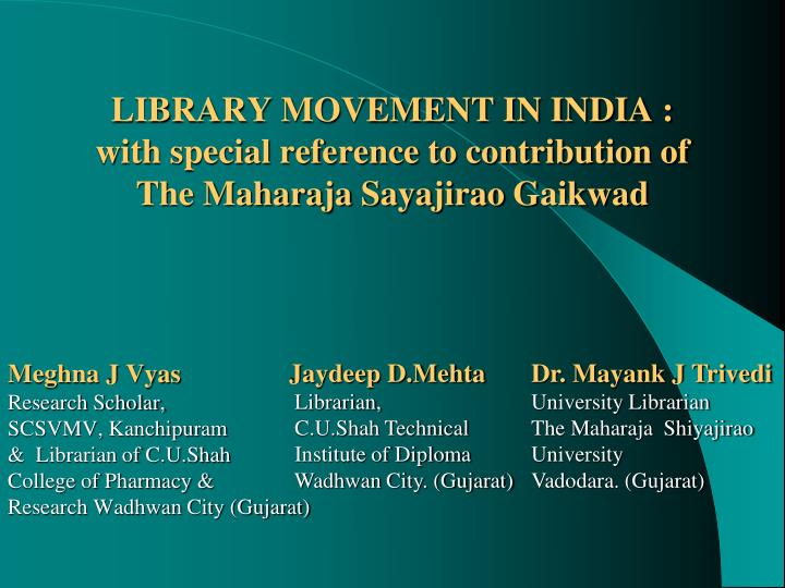 library movement in india