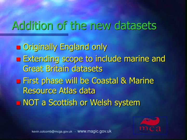 Addition of the new datasets