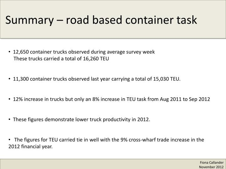 12,650 container trucks observed during average survey week