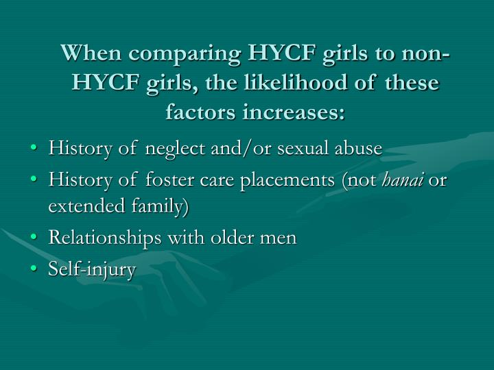 When comparing HYCF girls to non-HYCF girls, the likelihood of these factors increases: