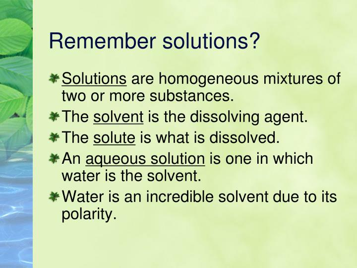 Remember solutions?
