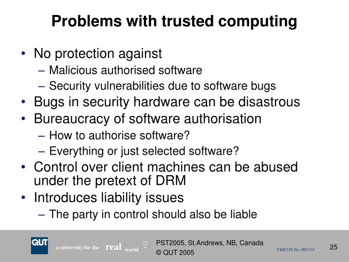 Problems with trusted computing