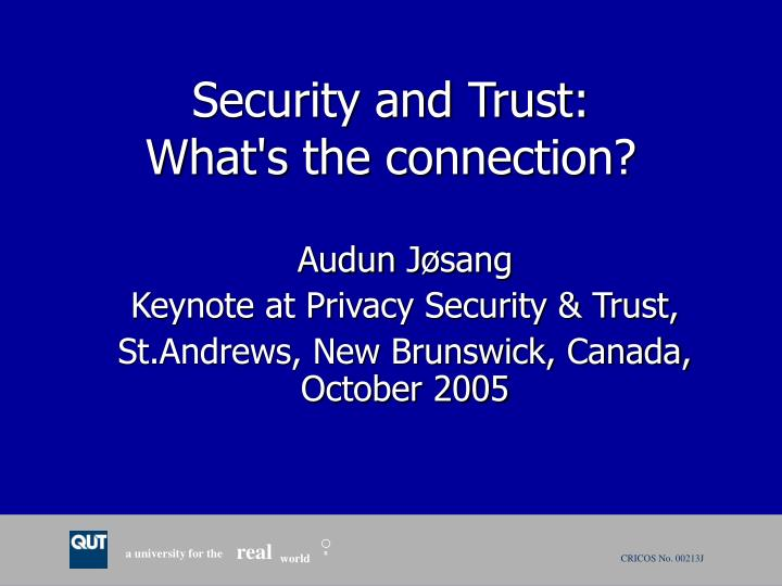 Security and trust what s the connection