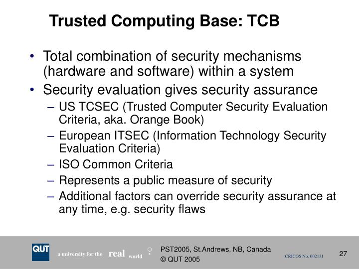 Trusted Computing Base: TCB