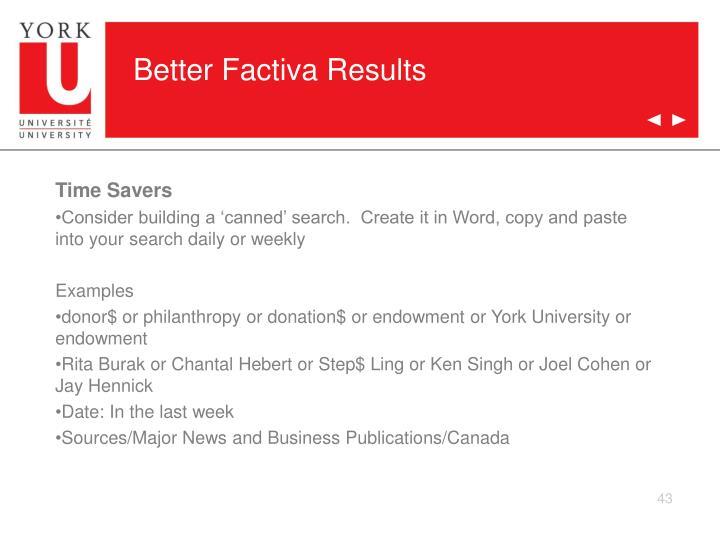 Better Factiva Results
