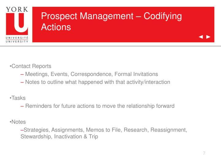 Prospect Management – Codifying Actions