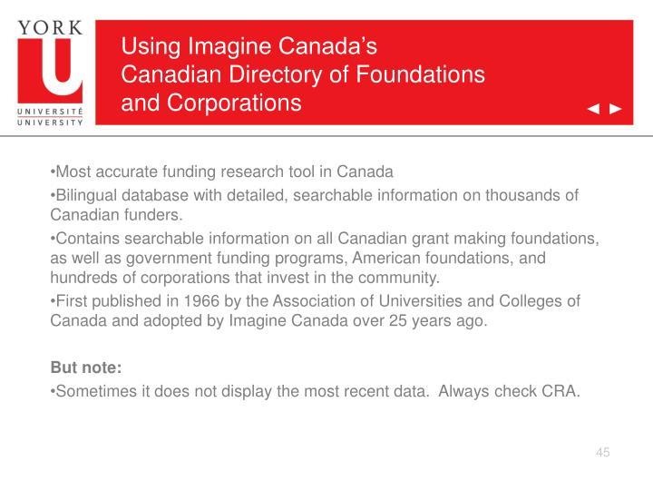 Using Imagine Canada's
