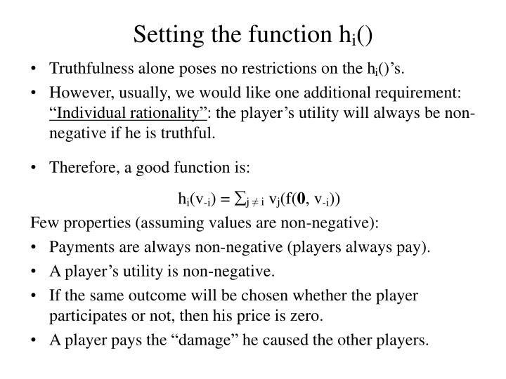 Setting the function h