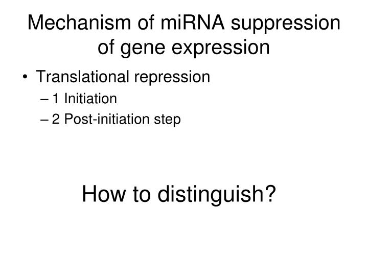 Mechanism of miRNA suppression of gene expression