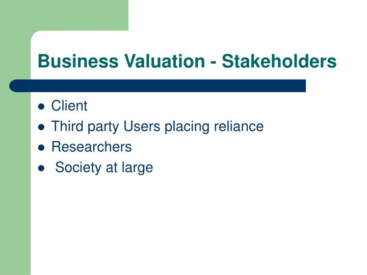 Business Valuation - Stakeholders