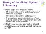 theory of the global system a summary