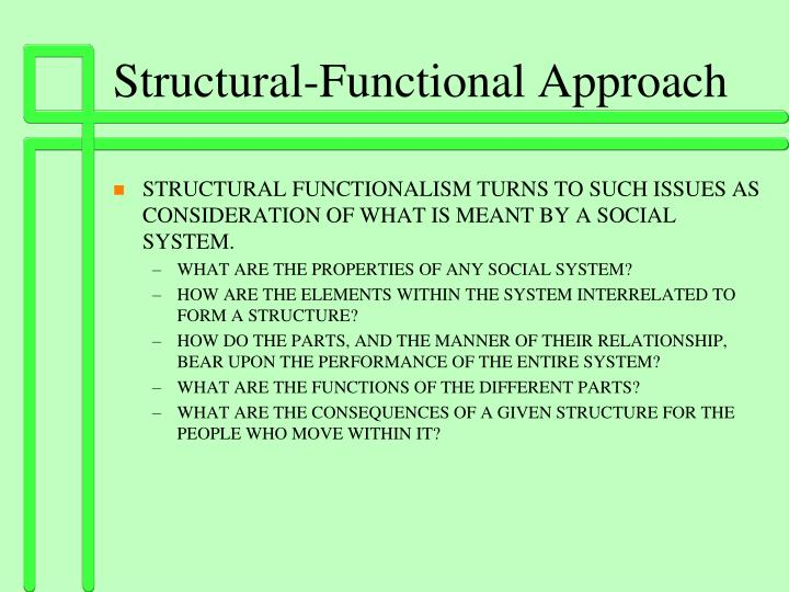 by using the structural functionalist approach The structural-functional theoretical approach by deb derosso in this interactive object, learners view a mind map of the structural-functional approaches and quiz themselves about the manifest and latent functions and.