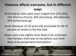 violence affects everyone but in different ways