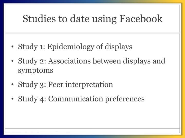 Studies to date using