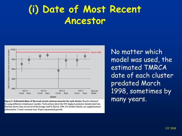(i) Date of Most Recent Ancestor