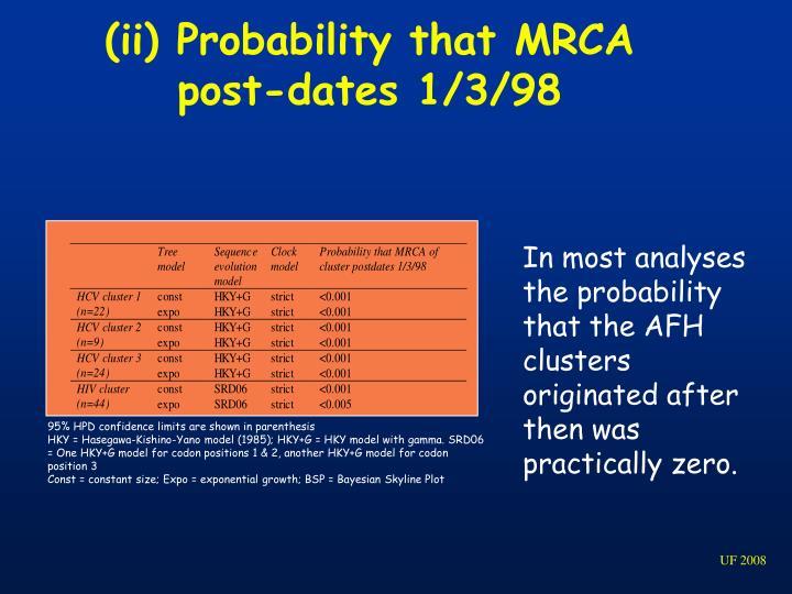 (ii) Probability that MRCA post-dates 1/3/98
