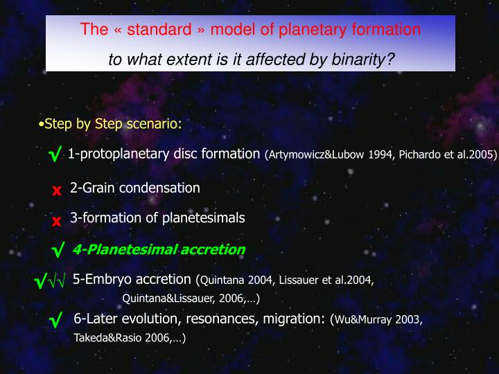 The «standard» model of planetary formation