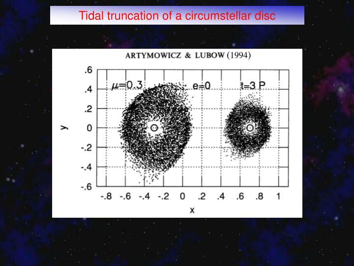 Tidal truncation of a circumstellar disc