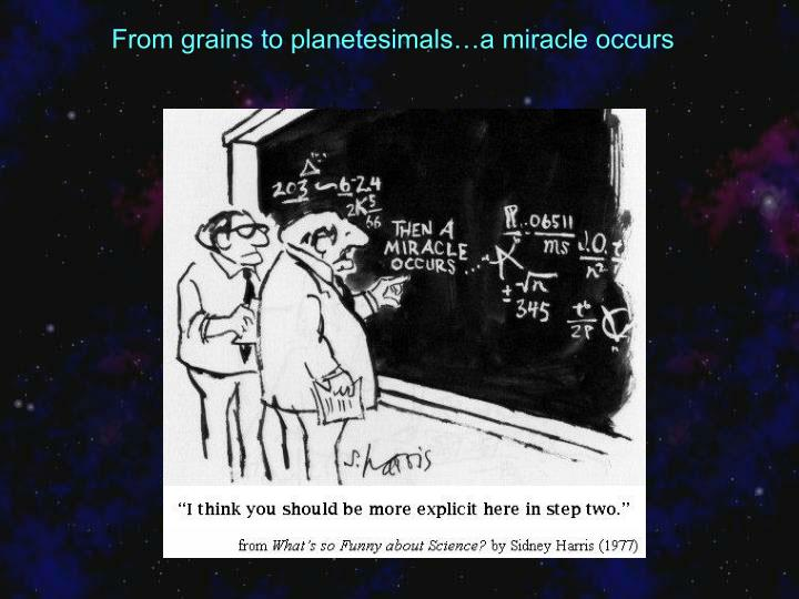 From grains to planetesimals…a miracle occurs