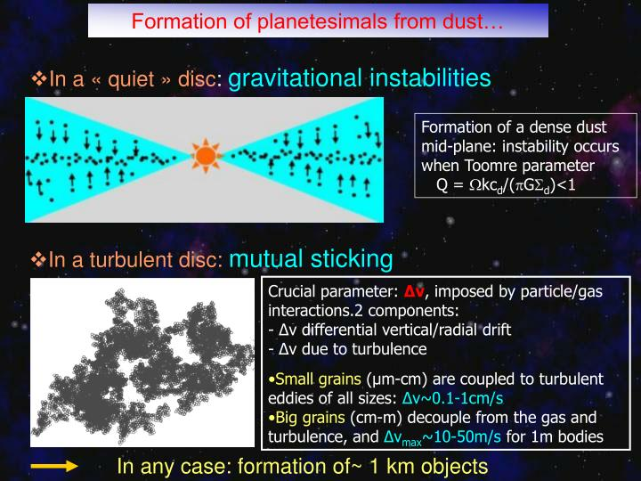 Formation of planetesimals from dust…