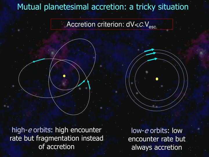 Mutual planetesimal accretion: a tricky situation