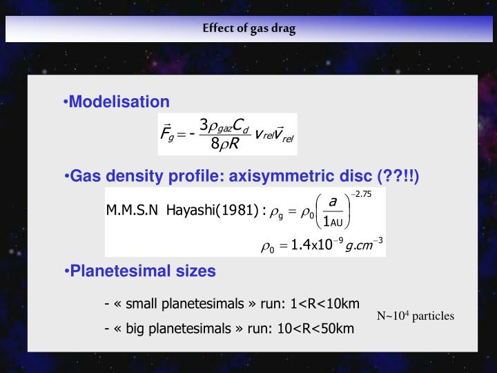 Effect of gas drag