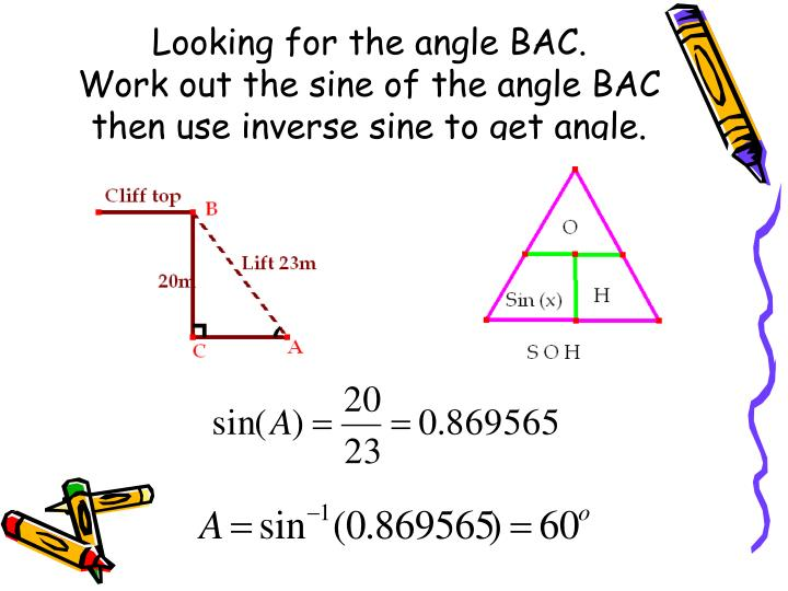 Looking for the angle BAC.