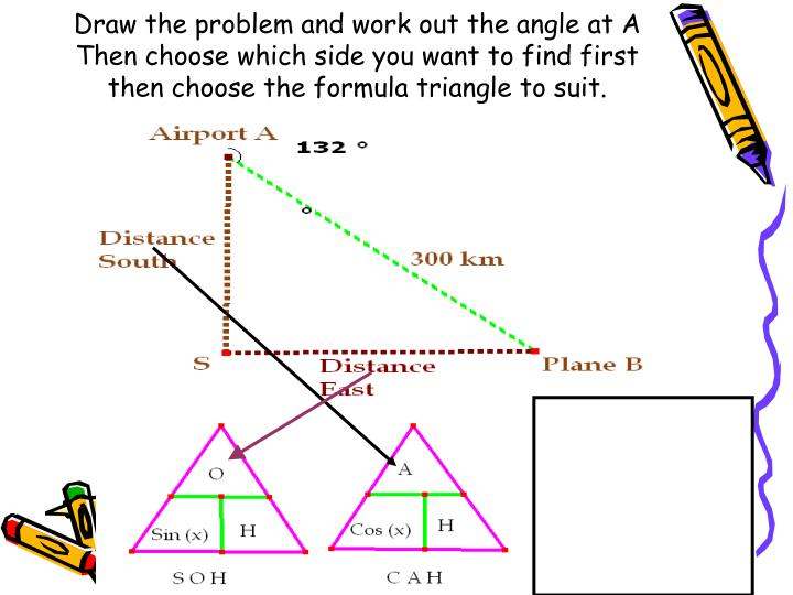 Draw the problem and work out the angle at A