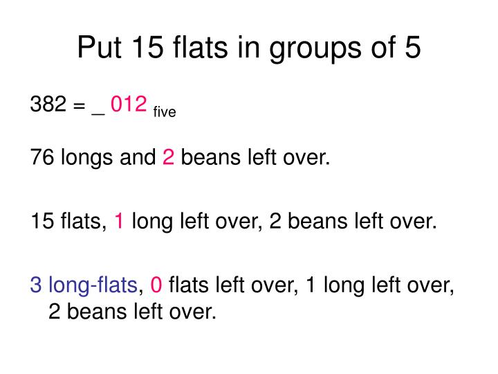 Put 15 flats in groups of 5