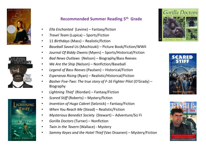 Recommended summer reading 5 th grade