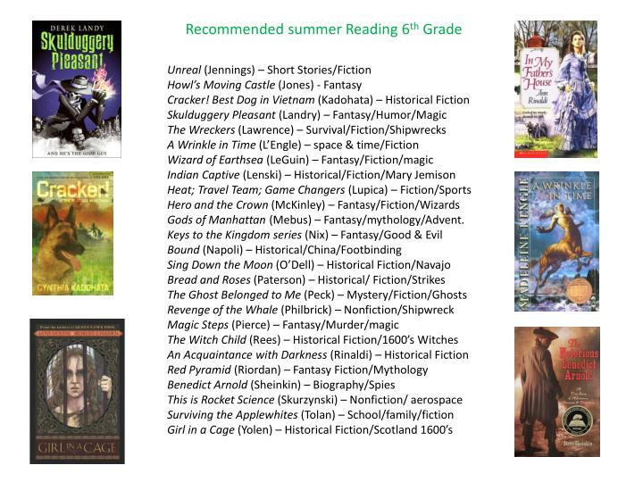 Recommended summer Reading 6
