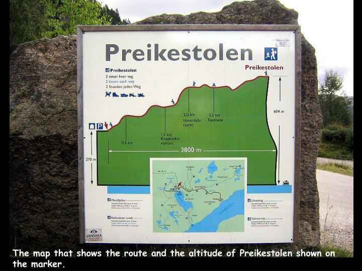 The map that shows the route and the altitude of Preikestolen shown on the marker.
