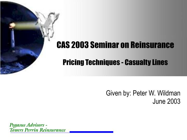 cas 2003 seminar on reinsurance pricing techniques casualty lines n.