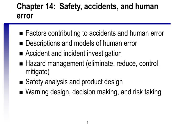 chapter 14 safety accidents and human error n.
