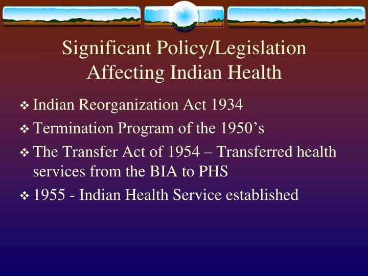 Significant Policy/Legislation
