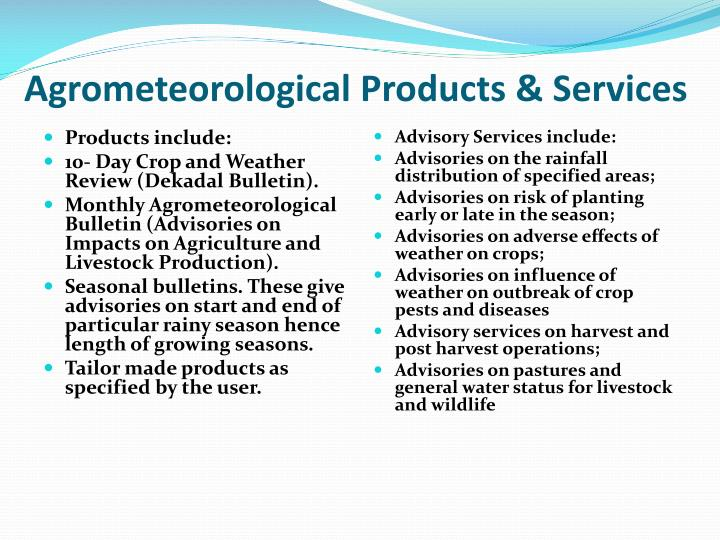 Agrometeorological Products & Services