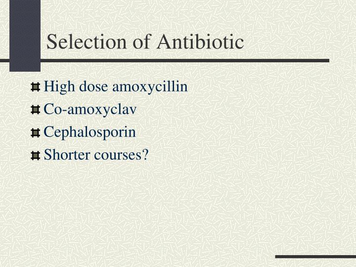Selection of Antibiotic