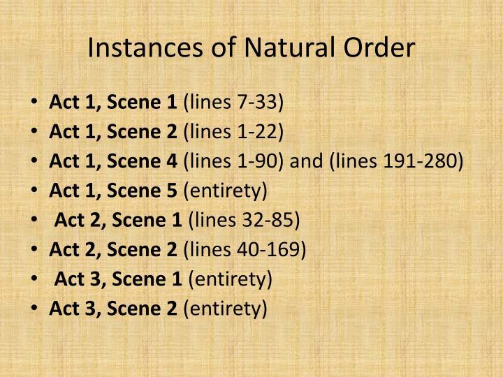 Instances of natural order