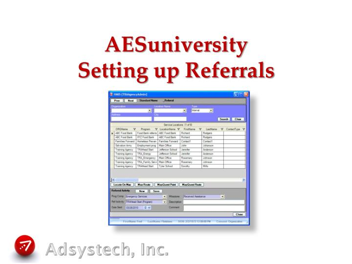 aesuniversity setting up referrals n.