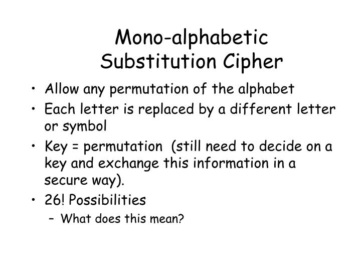 Mono-alphabetic Substitution Cipher
