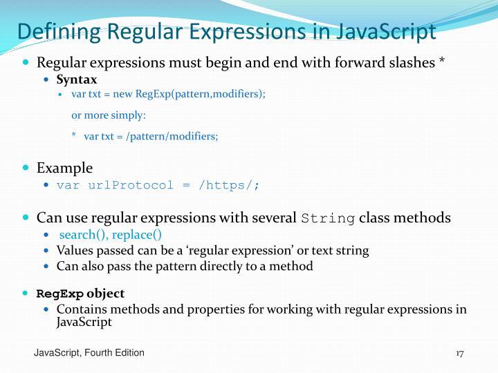 Defining Regular Expressions in JavaScript