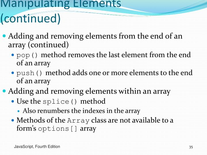Manipulating Elements (continued)