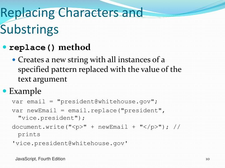 Replacing Characters and Substrings