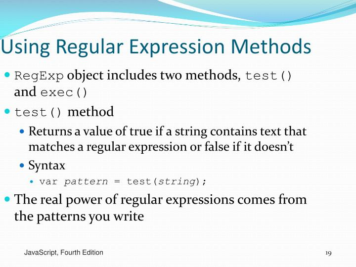 Using Regular Expression Methods