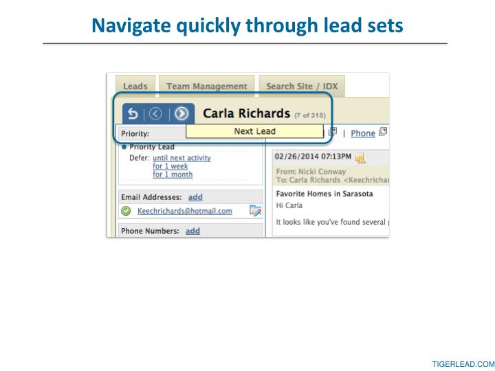 Navigate quickly through lead sets